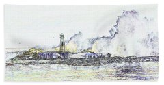 Hand Towel featuring the photograph Foamy Sea At The Breakwater by Nareeta Martin