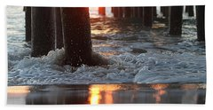 Foamy Waters Under The Pier Hand Towel