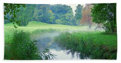 Fog Along A Creek In Autumn Bath Towel