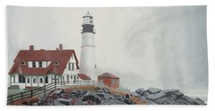 Fog Approaching Portland Head Light Bath Towel