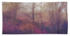 Fog In Autumn Mountain Woods Hand Towel