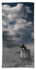 Fog On Smith Point Lighthouse  Hand Towel by Skip Willits