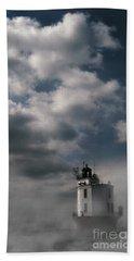 Fog On Smith Point Lighthouse  Bath Towel by Skip Willits