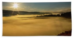Hand Towel featuring the photograph Fog On Yellowstone Lake by James BO Insogna