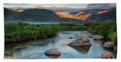 Fog Rolls In On Moraine Park And The Big Thompson River In Rocky Hand Towel
