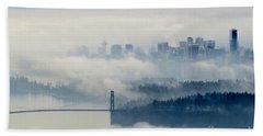 Fog-shrouded Vancouver Bath Towel