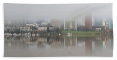 Foggy Day Along Portland Waterfront Panorama Bath Towel