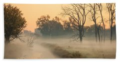 Foggy Fall Morning On Gary Avenue Bath Towel by Joni Eskridge