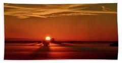 Foggy Farmlands Sunrise Hand Towel