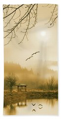 Foggy Lake And Three Couple Of Birds Hand Towel