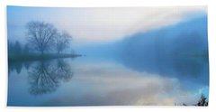 Foggy Morning Lake Sunrise II Hand Towel by Randy Steele