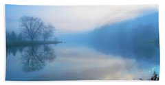 Foggy Morning Lake Sunrise II Bath Towel by Randy Steele