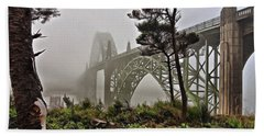 A Foggy Morning On Yaquina Bay Hand Towel
