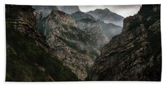 Foggy Mountains Over Neretva Gorge Bath Towel
