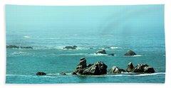 Sunny Blue Pacific Ocean Along The Oregon Coast Hand Towel