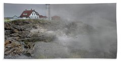 Foggy Portland Head Hand Towel by Skip Willits