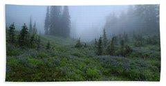Hand Towel featuring the photograph Foggy Skyline Trail At Mount Rainier by Lynn Hopwood