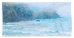 Bath Towel featuring the painting Foggy Surf by Angela Treat Lyon