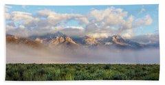 Foggy Teton Sunrise - Grand Tetons National Park Wyoming Bath Towel
