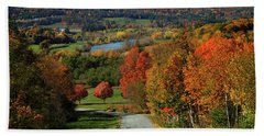 Foliage View Of Connecticut River From Piermont New Hampshire Bath Towel