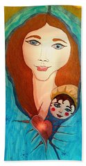 Folk Mother And Child Hand Towel