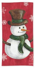 Folk Snowman Bath Towel