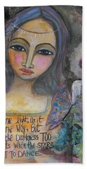 Bath Towel featuring the painting Follow The Light by Prerna Poojara