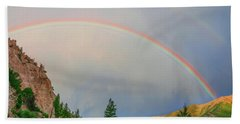 Follow The Rainbow To The Majestic Rockies Of Colorado.  Hand Towel by Bijan Pirnia