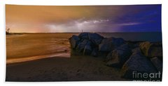 Folly Beach Lightning Hand Towel by Robert Loe