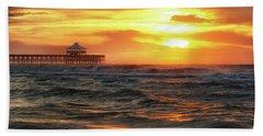 Folly Beach Pier Sunrise Hand Towel