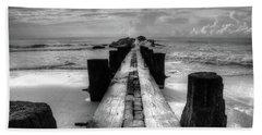 Folly Beach Pilings Charleston South Carolina In Black And White  Bath Towel