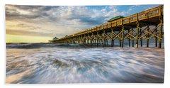 Folly Beach Sc Pier Charleston South Carolina Seascape Hand Towel