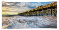 Folly Beach Sc Pier Charleston South Carolina Seascape Hand Towel
