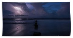 Folly Island Lightning Hand Towel by Robert Loe