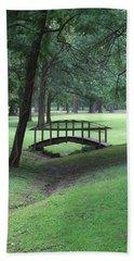 Foot Bridge In The Park Bath Towel by J R Seymour