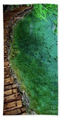 Footpaths And Fish - Plitvice Lakes National Park, Croatia Hand Towel