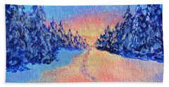 Footprints In The Snow Bath Towel by Li Newton