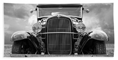 Ford Coupe Head On In Black And White Bath Towel