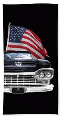 Ford F100 With U.s.flag On Black Bath Towel