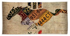 Ford Mustang Emblem Recycled Vintage Michigan License Plate Art Bath Towel