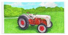 Bath Towel featuring the painting Ford Tractor 1941 by Jack Pumphrey