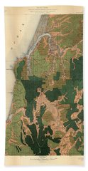 Forest Cover Map 1886-87 - Coos Bay Quadrangle - Oregon - Geological Map Bath Towel