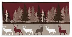 Forest Deer Lodge Plaid Bath Towel