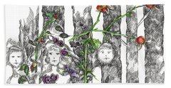 Hand Towel featuring the drawing Forest Faces by Cathie Richardson
