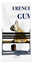 Forest Gump French Bulldog Caricature Art Print Bath Towel