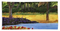 Bath Towel featuring the painting Forest Lake by Jamie Frier