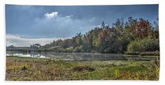 Forest Lake In Autumn Bath Towel