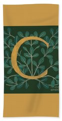 Forest Leaves Letter C Hand Towel