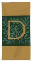 Forest Leaves Letter D Bath Towel