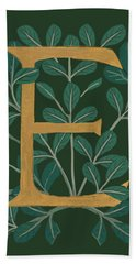 Forest Leaves Letter E Hand Towel